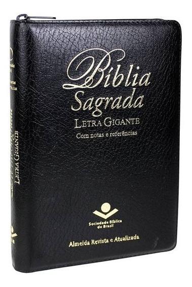 Bíblia Letra Gigante Com Zíper Linguagem Atualizada Preta