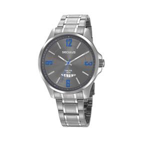 Seculus Relógio Calendário Aço Prata
