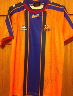 Camisa Do Barcelona 1998 Autografada 13 Super Craques