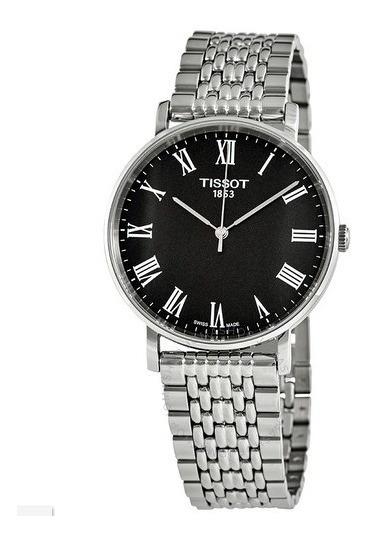 Relógio Tissot Masculino Tclassic Everytime Aço/preto Médio