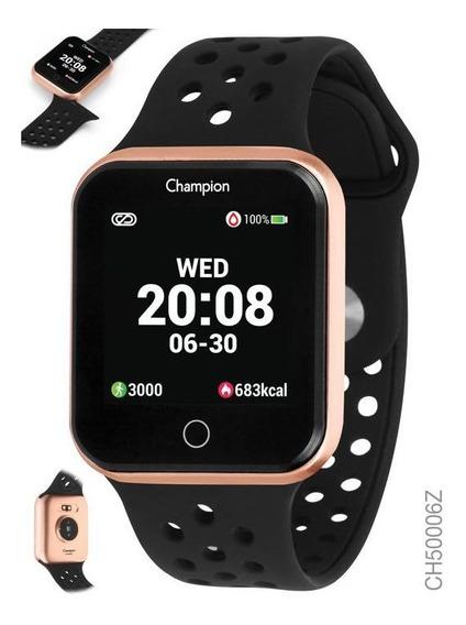 Smartwatch Champion Vermelho Com Preto Com Rose Ch50006z