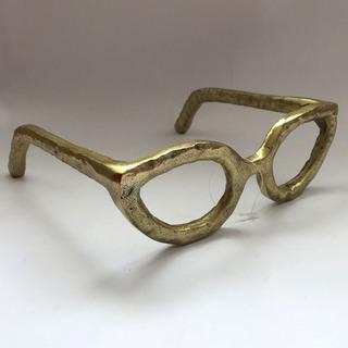 Lentes Anteojos Dorado De Metal Figura Decorativa Accesorios
