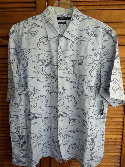 Náutica Camisa Talla 2xl Pez Vela Compuesta En Lino 100%