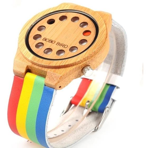 Relógio De Madeira Bobo Bird - Arco-íris - Pulseira De Couro