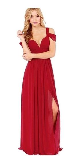 Vestido Fiesta Largo Rojo Escotado Gasa Va 285