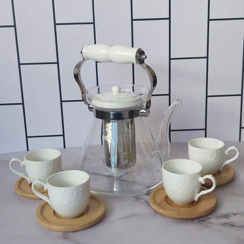 Imagen 1 de 4 de Juego De Té - Tetera Con Infusor + 4 Tazas De Porcelana B