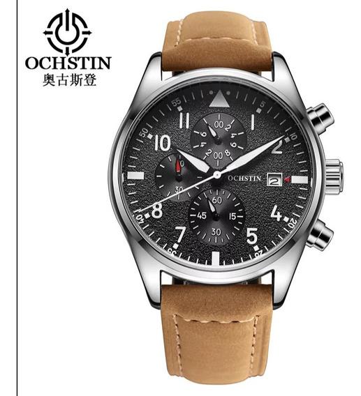 Relógio Masculino De Couro Ochstin Funcional.