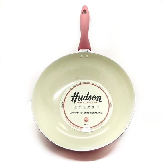 Wok Antiadherente Cerámico Color Pastel 28 Cm Hudson