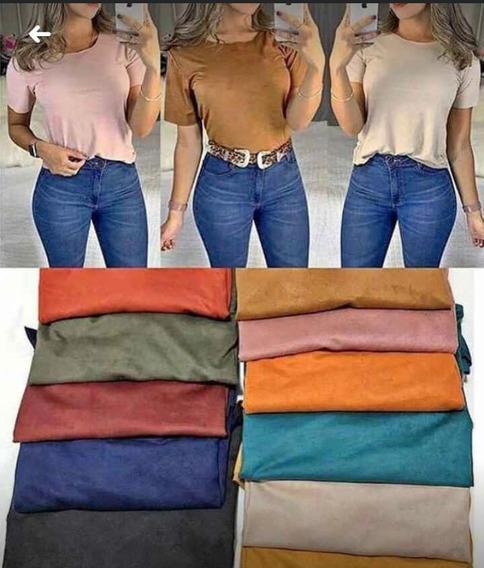 Blusa Blusinha Suede T-shirt Camurça Corte A Laser Modinha