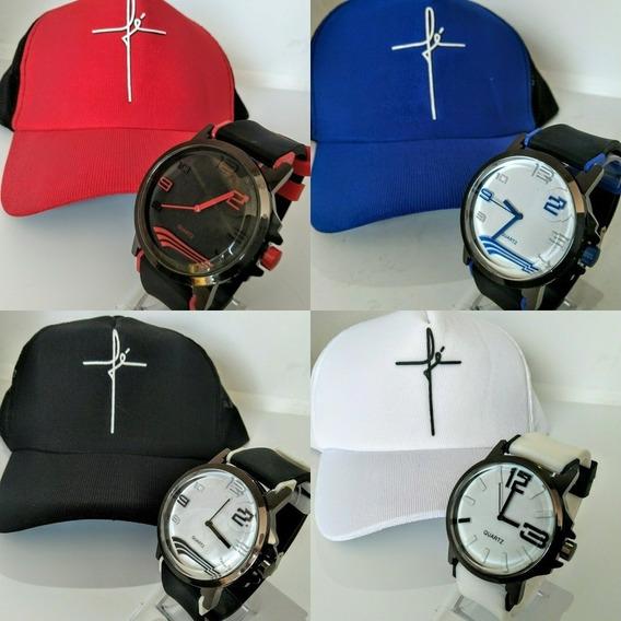 Kit Lote 5 Relógios Masculino + 5 Bones Telinha Aba Curva