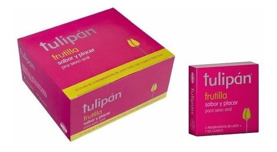 Tulipan - Preservativos Frutilla X 12 Cajitas X 3 Un.