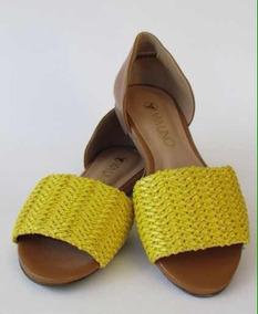 Sandália Via Uno Trança - Amarela E Marfim Tamanho 34