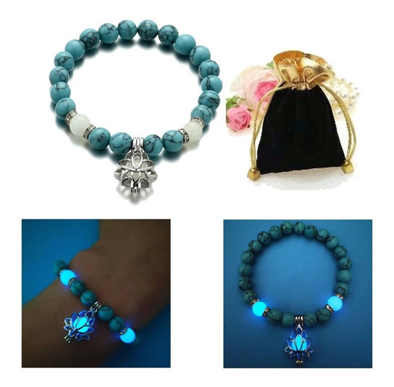Pulseira Chakras Turquesa Azul Brilha Escuro Flor De Lotus