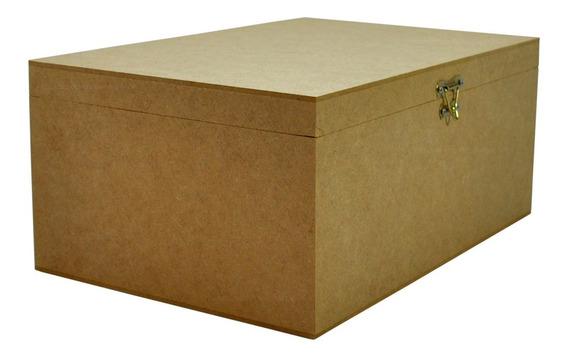Caixa Lisa Com Dobradiça E Fecho 30x20x13 Mdf Madeira