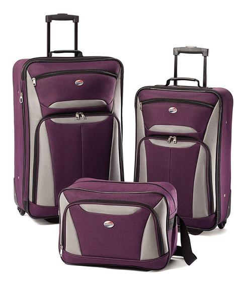 Juego De Maletas American Tourister 3 Piezas Púrpura