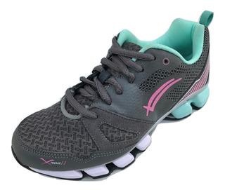 Tenis Mujer Para Correr Running Karosso 6311 Textil Gris