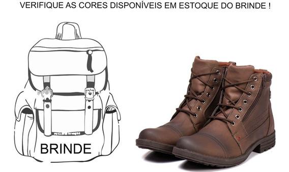 Bota Masculina Casual C/ Ziper +mochila Oferta De Natal!