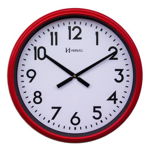 Relógio Parede Gigante Com 60 Cm Branco Vermelho Herweg 6463