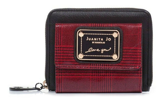 Billetera Juanita Jo Pocket negra y roja