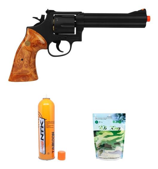 Revolver Airsoft Gbb Uhc Cabo Deta. 6 6mm + Green Gás + Bbs