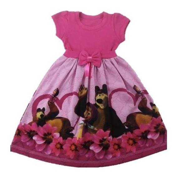 Vestido Infantil Masha E O Urso - Malha Roupa/fantasia