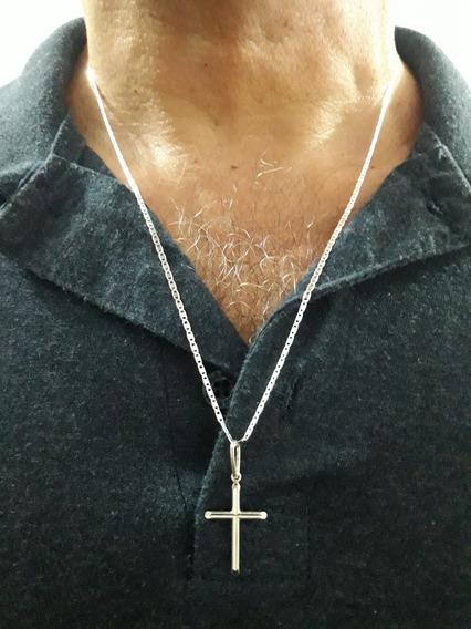 Corrente Piastrine + Crucifixo Em Prata Pura 925 + Brinde !!