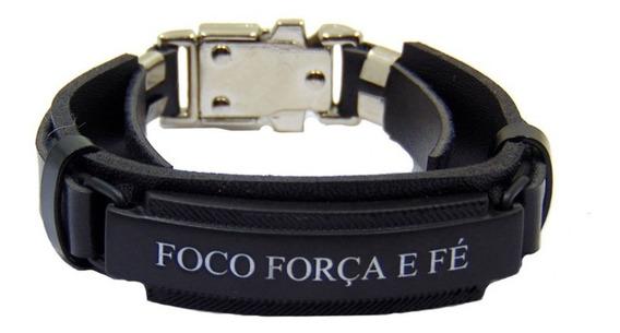 Pulseira Bracelete Masculina Foco Força E Fé.