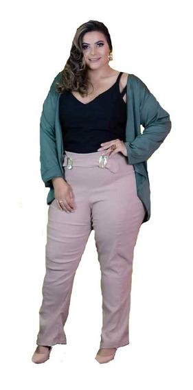 Conjunto Cardigan Kimono Com Blusa E Calça Plus Size 48 Á 52