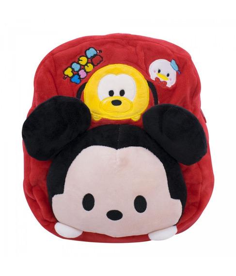 Mochila Infantil Pelúcia Rosa Mickey Tsumtsum Disney