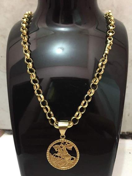 Cordão Exclusivo - Prata Banhado A Ouro Puro!! São Jorge!!