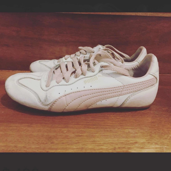Zapatillas Blancas De Cuero Puma Talle 35