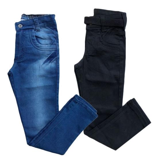 Kit 2 Calça Jeans Masculina Infantil Meninos 2 Ao 16 Ano