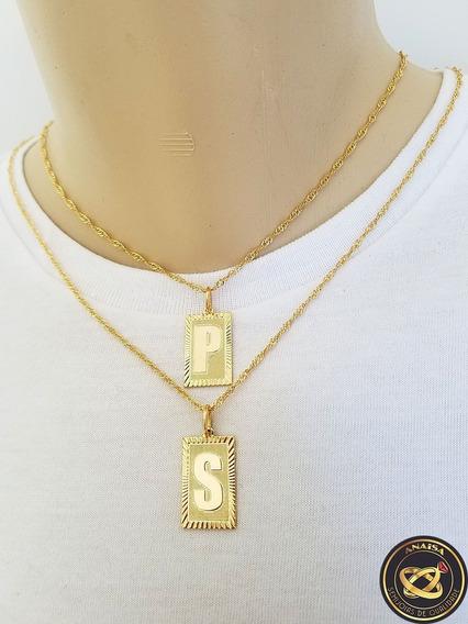 Pingente Letra Inicial P,s + Corrente Folheado Ouro. C1pps22