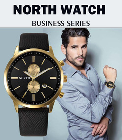 Relógio Masculino Original North Pulseira De Couro Genuino