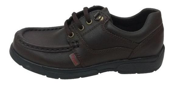 Zapato Marcel 343 Cuero Colegial Escolar Unisex Acordonados