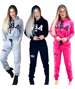 Conjunto Moletom Usa Feminino Inverno Touca Moda