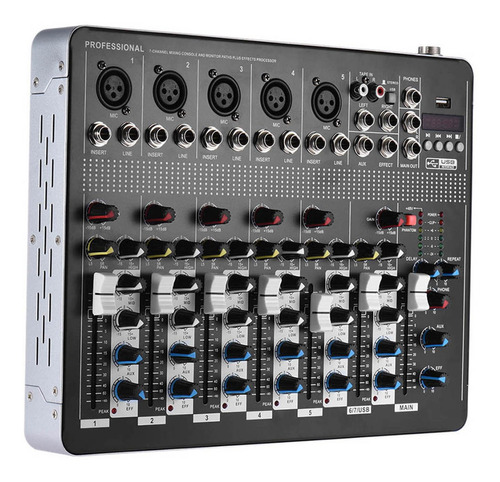 Consola Mezcladora De Audio Profesional De 7 Canales Mic Lin