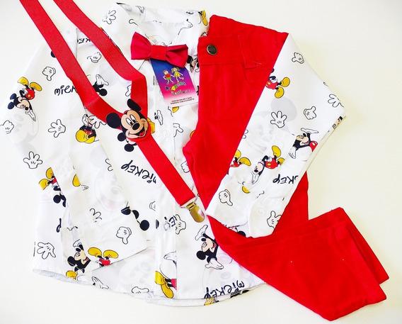 Conjunto Temático Luxo Mickey Festa Com Manga Longa E Calça