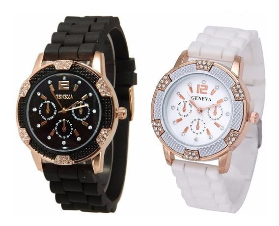Relógio Feminino Geneva Pulseira De Silicone Luxo Com Strass