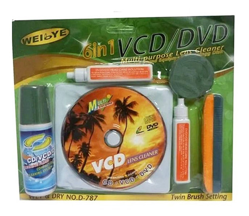 Imagen 1 de 1 de Kit Multi Limpiador Liquido Lente Lector Vcd Dvd Cd Blue Ray