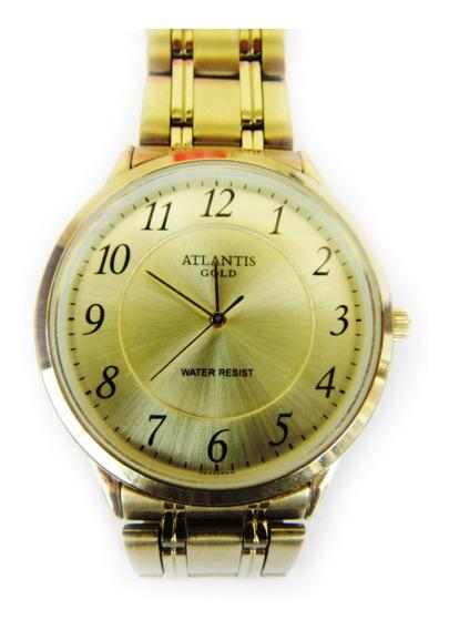 Relógio Atlantis Gold Pulseira De Metal Dourado Masculino