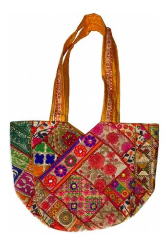 Imagen 1 de 1 de Bolsa Hindú Bordada Con Parches  Jaipuri Ethnic