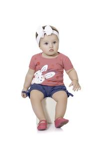 Conjunto Bebê Coelha Short Jeans