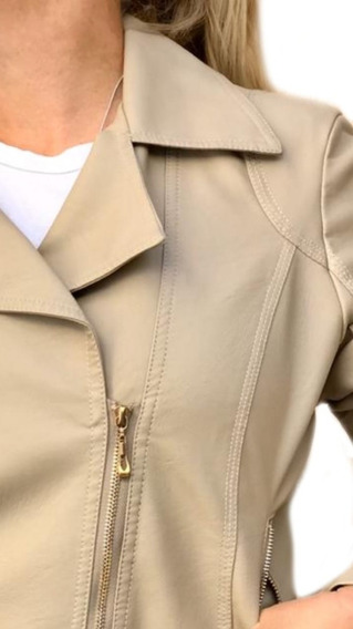 Campera Mujer Simil Cuero Beige Talle M. Impecable