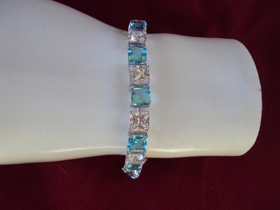 Brasalete Acero Inoxidable Banda Cristales Azules Y Blancos