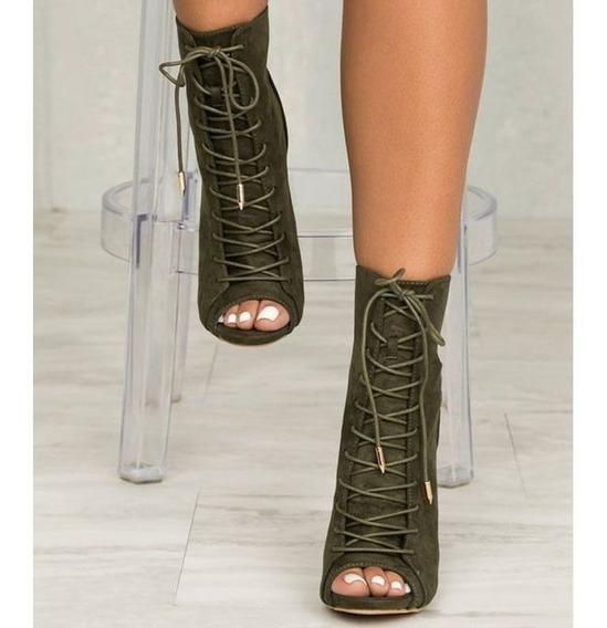 Mujer Tacones Altos Correas Cruzadas Zapatos Sandalias De Pu