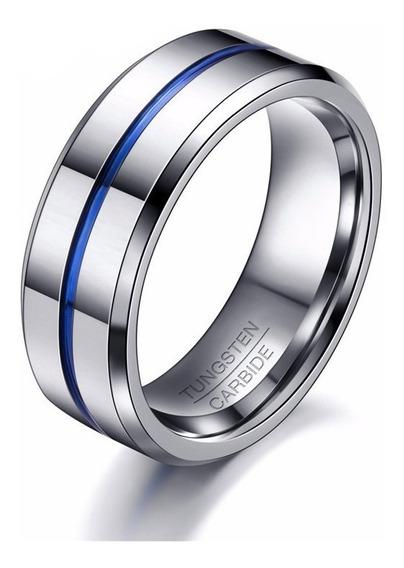 Anel Masculino Homem 8mm Prata Tungstênio Fio Azul
