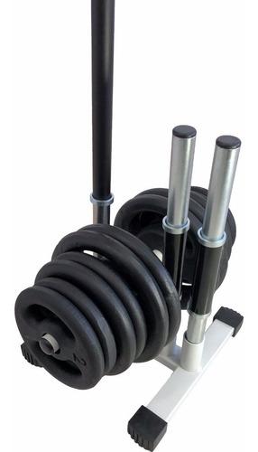 Imagem 1 de 8 de Kit Anilhas 40kg + 2 Barras De 40cm + 1 Barra De 1,20m + Suporte De Anilhas E Barras