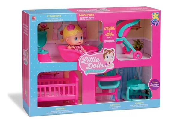 Little Dolls Casinha - 1 Boneca + 6 Acessórios Divertoys