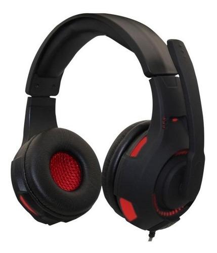 Imagen 1 de 3 de Audífonos gamer Naceb NA-0304 negro y rojo con luz LED